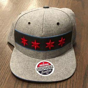 Chicago Flag Grey Snapback Hat
